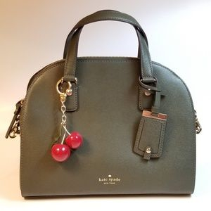 Kate Spade Green Satchel with Cherry Key Fob